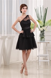 Short One Shoulder Little Black Dress, Black Tiered Cocktail Dress