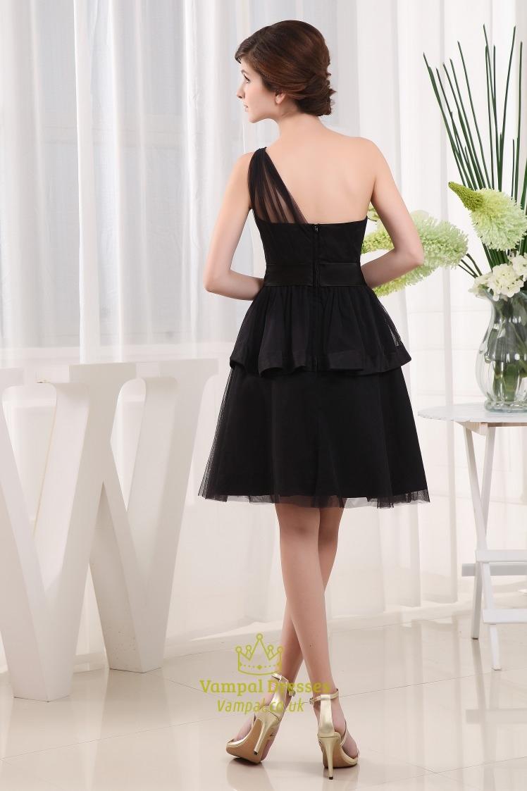 Short One Shoulder Little Black Dress Black Tiered