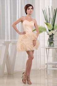 A-Line Spaghetti Strap Organza Homecoming Dress, Organza Cocktail Dress