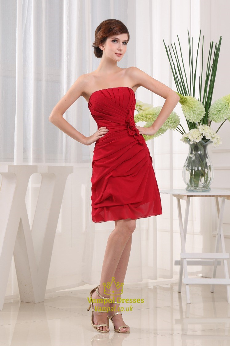 2874bab274 Chiffon Strapless Semi Formal Dress
