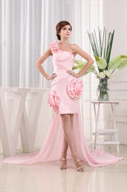 Short Pink One Shoulder Prom Dress, Cocktail Dress Detachable Train