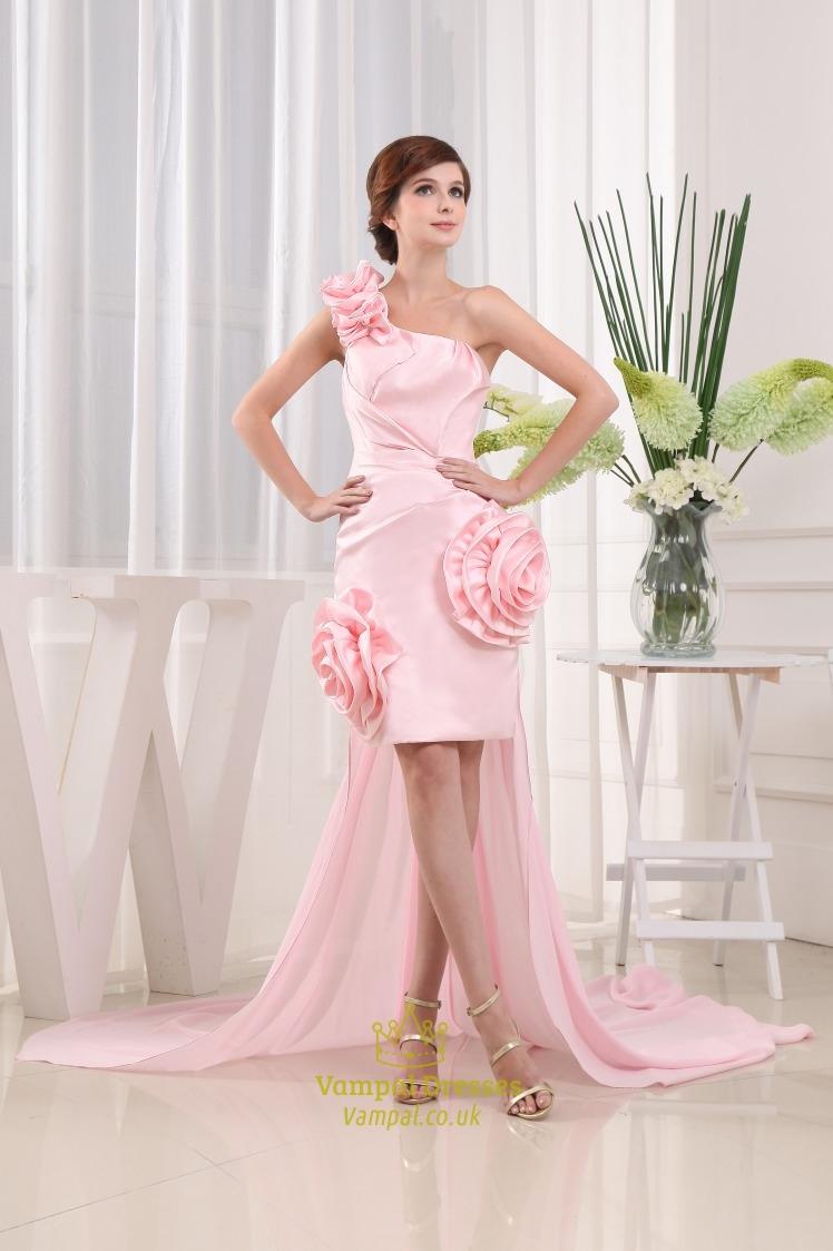 Short Pink One Shoulder Prom Dress, Cocktail Dress Detachable Train ...
