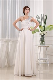 Beaded One Shoulder Long Chiffon Prom Dress, Ivory Chiffon Prom Dress
