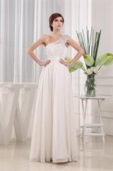 Beaded One Shoulder Long Chiffon Prom Dress, Ivory Chiffon Prom Dress