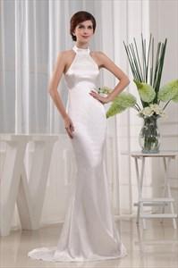 Ivory Mermaid Prom Dress, High Neck Halter Evening Gown, Elegant Dress