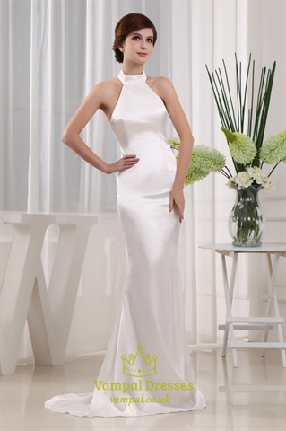 Ivory Mermaid Prom Dress, High Neck Halter Evening Gown