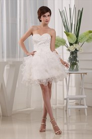 Sweetheart Strapless Beading Organza Homecoming Dress,Short Prom Dress