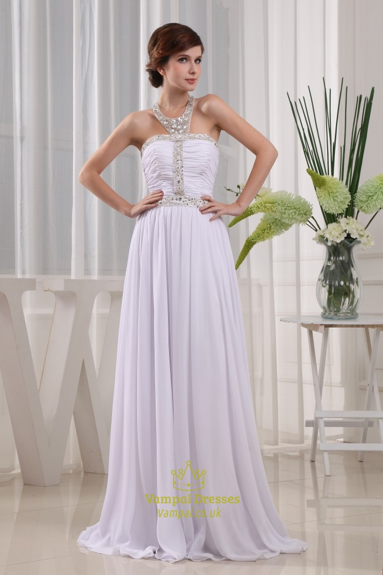 Halter Neck Beaded Long Prom Dress, White Beaded Chiffon Evening ...