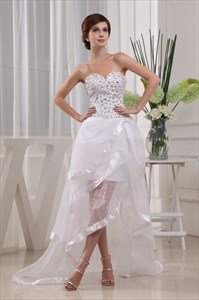 Embellished Sweetheart High Low Ruffle Dress,White High Low Prom Dress