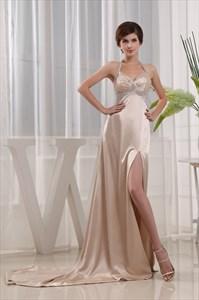 A-Line Floor-Length Sweetheart Empire Waistline Beadings Prom Dresses