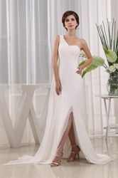 Chiffon A-Line Floor-Length Evening Dress,Long One Shoulder Prom Dress
