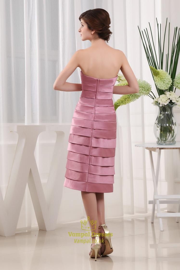 Short Pleated Satin Strapless Dress Tea Length A Line