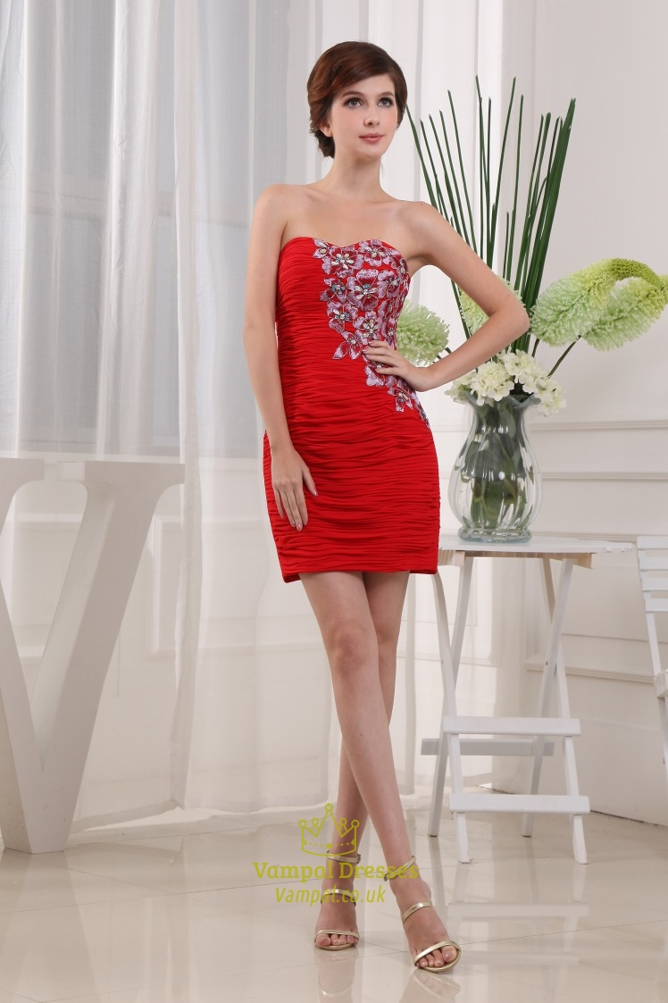 513ba6b0e3 Short Red Strapless Cocktail Dress