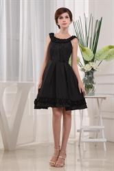 Black Knee Length Cocktail Dresses, Scoop Neck Little Black Dress