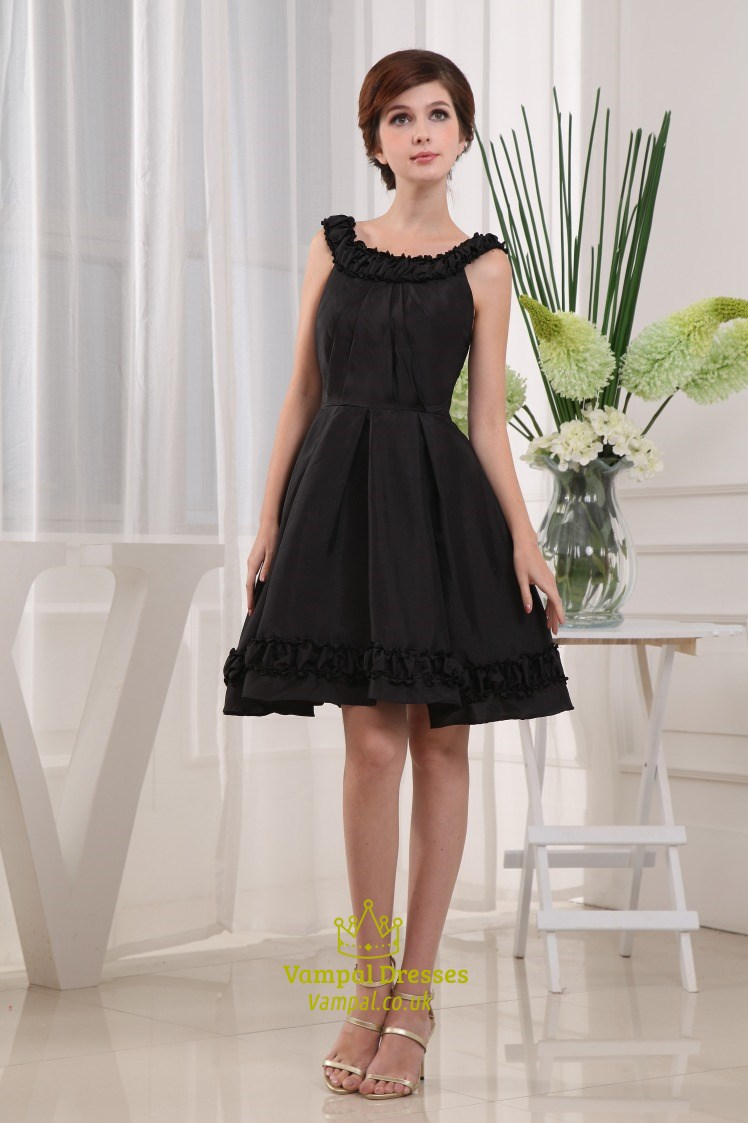 a39ffe8d43 Black Knee Length Cocktail Dresses, Scoop Neck Little Black Dress, Black  Taffeta Cocktail Dress, Short Black Prom Dress With Straps