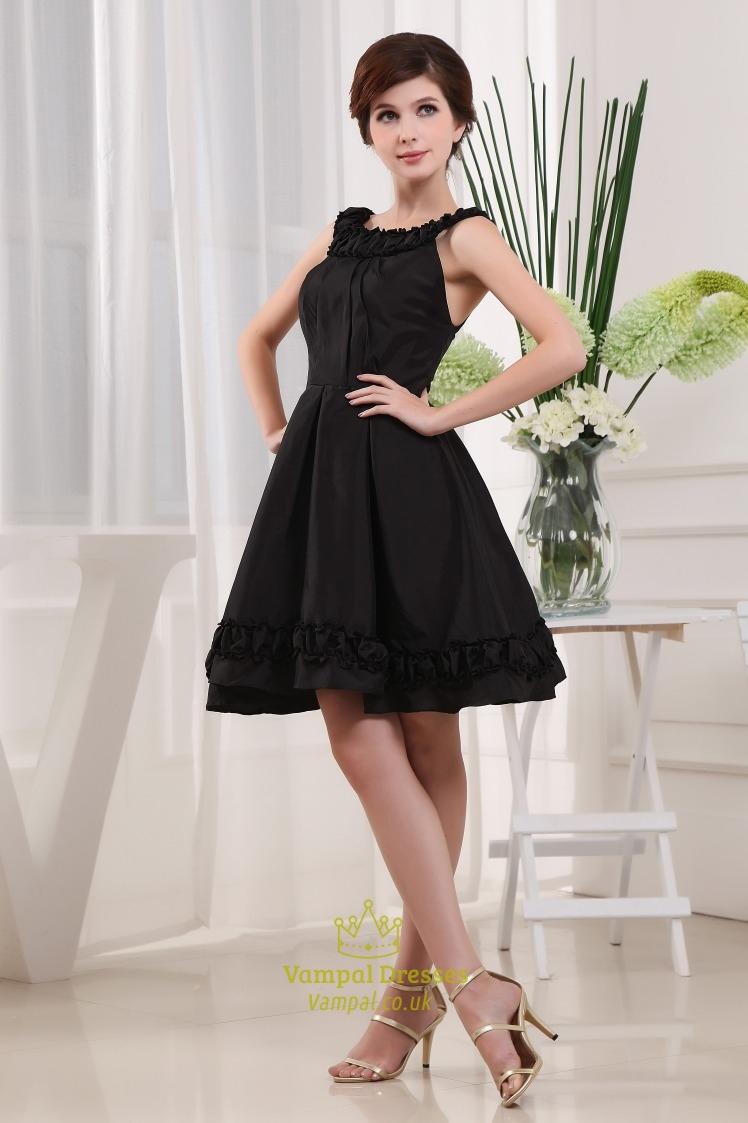 Black Knee Length Cocktail Dresses Scoop Neck Little