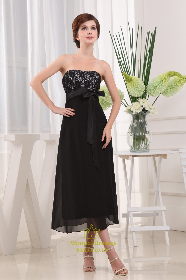 Black strapless tea length bridesmaid dresses chiffon for Black tea length wedding dress