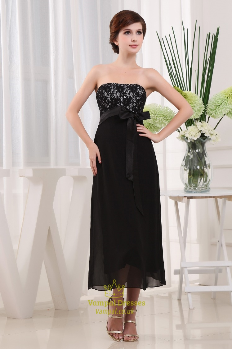 Black Strapless Tea Length Bridesmaid Dresses Chiffon