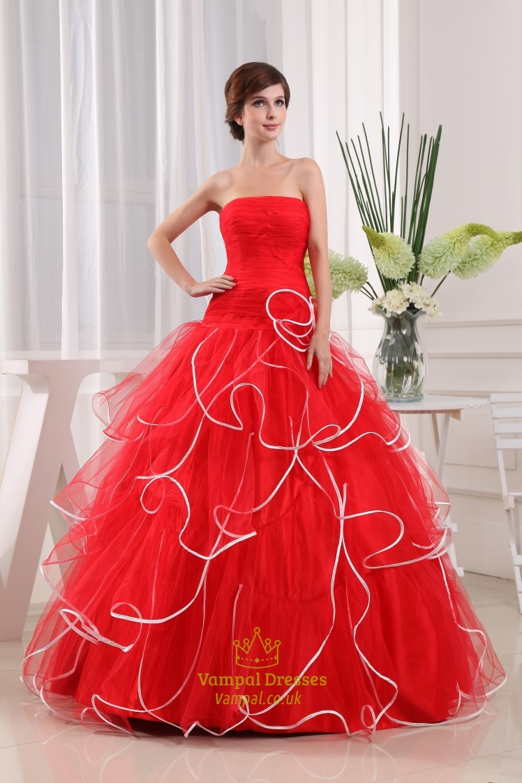 Strapless Red And White Wedding Dresses, Red Ball Gown Prom Dresses ...