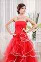 Strapless Red And White Wedding Dresses, Red Ball Gown Prom Dresses