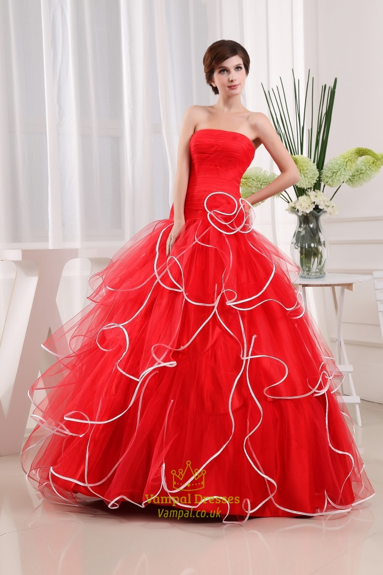 strapless red and white wedding dresses red ball gown