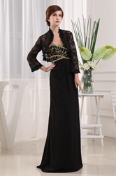 Chiffon Mother Of The Bride Dress With Jacket,Black Chiffon Prom Dress