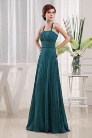 Crinkle Chiffon Dress With Front Cascade,Teal Chiffon Bridesmaid Dress
