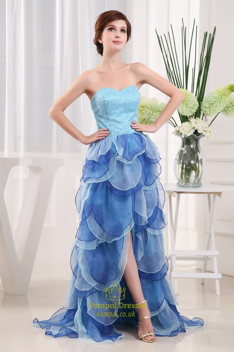 Sweetheart Strapless Beaded Long Prom Dress, Prom Dresses Split ...