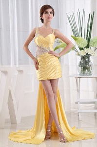 Short Prom Dress With Embellished Waistline, Yellow Homecoming Dresses