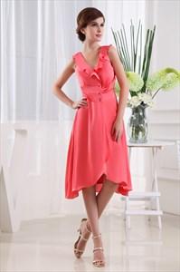Coral High Low Homecoming Dress, Tea Length V Neck Bridesmaid Dresses