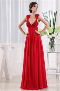 Chiffon Empire Waist Evening Dresses, Long V Neck Sequin Formal Dress