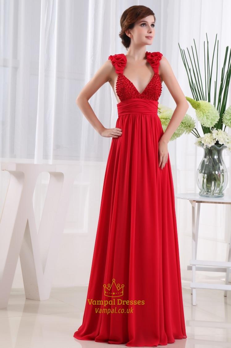 Long Black Dress With Deep V Neck Empire Waist 69
