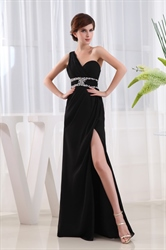 Beaded One Shoulder Long Chiffon Prom Dress, Side Cut Out Prom Dresses