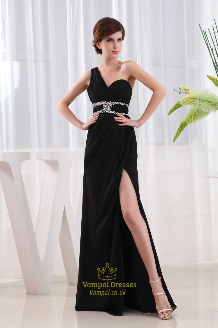 Beaded One Shoulder Long Chiffon Prom Dress, Side Cut Out ... One Shoulder Black Prom Dress