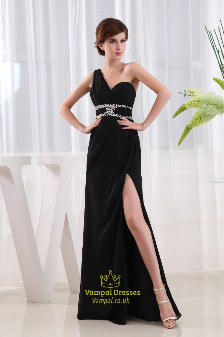 2cc9eba0821 Beaded One Shoulder Long Chiffon Prom Dress, Side Cut Out Prom Dresses