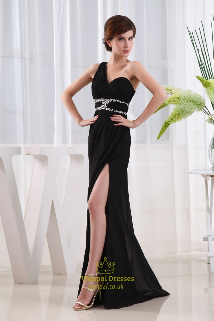 Beaded One Shoulder Long Chiffon Prom Dress Side Cut Out