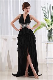 High Low Ruffle Prom Dresses, Chiffon Empire Waist Evening Dresses