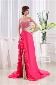 Side Cut Out Prom Dresses, Backless Beaded Long Chiffon Prom Gown