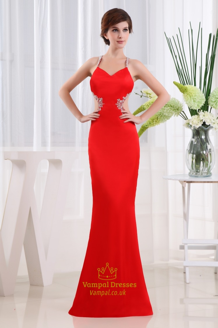 Red Side Cut Out Prom Dress, Open Back Prom Dress, Mermaid Prom Dress