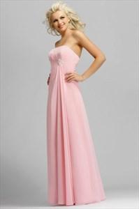 Light pink strapless long chiffon bridesmaid dresses