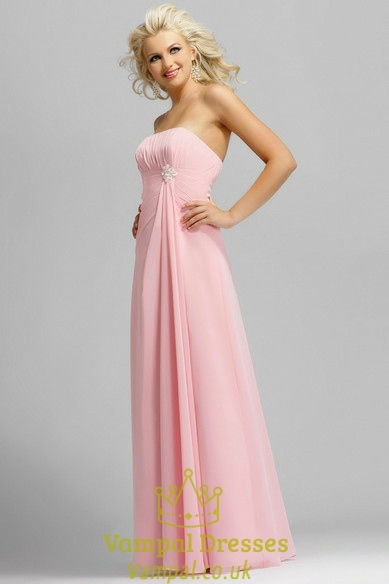 Light pink strapless long chiffon bridesmaid dresses