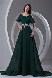 Emerald Green Mother Of The Bride Dresses With Sleeves And Jacket
