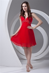 A-line Spaghetti Straps Short/Mini Chiffon Red Cocktail Dress with Sequin