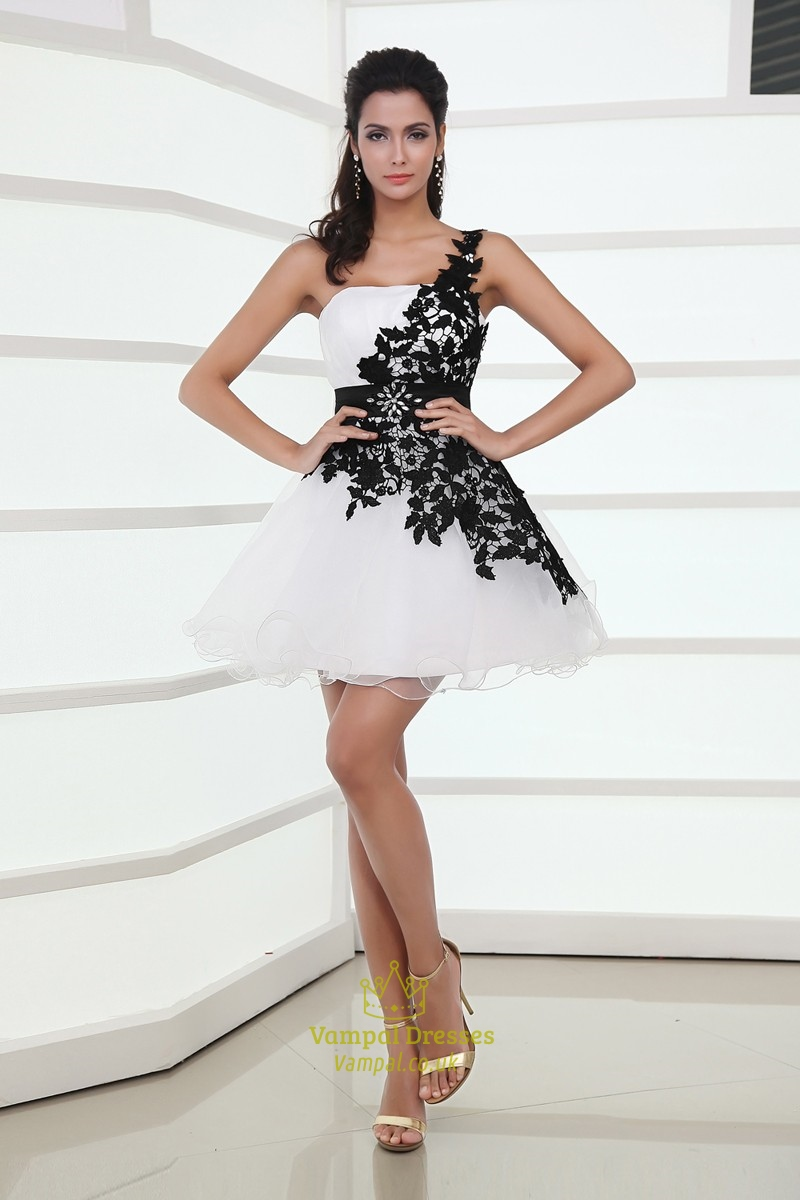Black And White One-Shoulder Backless Lace Mini Homecoming Cocktail ...