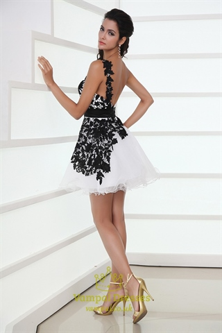 Black And White One Shoulder Backless Lace Mini Homecoming