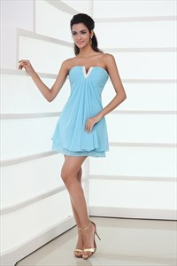 Sweet Light Sky Blue Sweetheart Mini Prom Dress,Light Blue Mini Dress