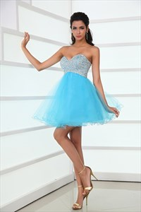 Sweetheart Blue Tulle Beads And Sequins Working Homecoming Cocktail Dresses