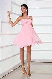 Charming A-Line One Shoulder Appliques Ruffles High-low Short Mini Prom Dresses