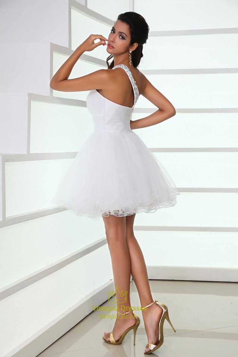 White One Shoulder Short Cocktail Dresses