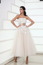 Darling Strapless Appliqued Ruched Pleated Tulle Tea Length Princess Dress